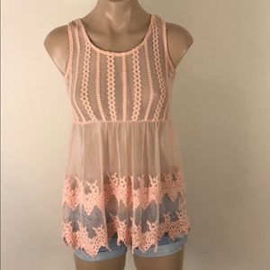 ⭐️ 3/$20 DEREK HEART PEACH MESH TOP SIZE SMALL